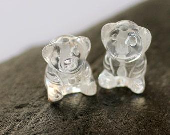 Carved Clear Quartz Gemstone Teddy Bear Pendants - 2 - 15mm x 20mm