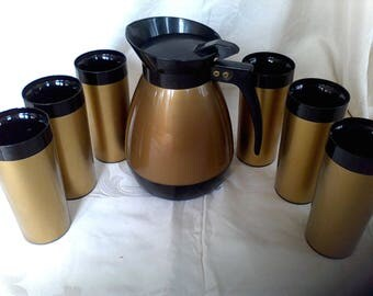 Pitcher and Tumblers, West Bend, Black and Gold, Insulated Set of 6, made in the USA