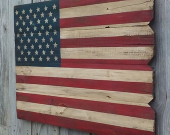 Rustic Wooden American Flag, Weathered Aged Wooden , 22 X 30 inches. Made from recycled fencing. Free Shipping  T