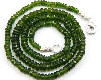 100 % Natural AAA chrome, chrome diopside rondelle faceted beads, green tourmaline faceted beads 72.20 ct 3-5mm 17 inch