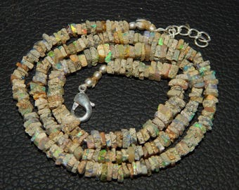"""Fabulous 25% Discount  44.00 ct approx Natural Ethiopian Opal 4 mm Heishi Beads 18.5"""" strands Necklace"""