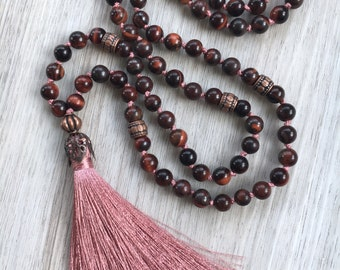 Lady Dragon ~ Hand Knotted 108 Bead Mala Necklace made from Red Tigers Eye. Meditation Beads, Prayer Beads, Yoga Necklace, Japa Meditation