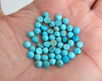 52PCs Tibetan Turquoise Cabochon Lot, (5MM) Round Cabochons Blue Turquoise Lot, Semiprecious Jewelry Making Cabochons S-4819