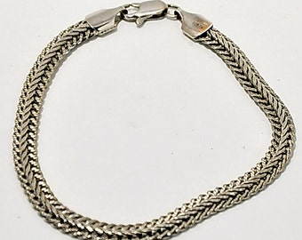 Sterling Silver Braided Chain Bracelet Italy Vintage Jewelry