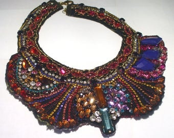 Large JULIANA Rhinestone Cleopatra Collar Bib Haute Couture Runway Mixed Materials Textile Statement NECKLACE