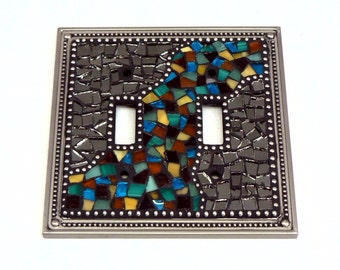 Mosaic Switch Plate - Light Switch Cover - Double Switch Plate - Brown and Turquoise Switch Plate - Silver Switch Plate