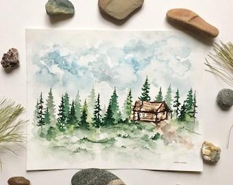 Cabin - Original Watercolor Painting
