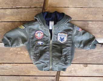 Vintage Kids/Baby Army Nylon Bomber