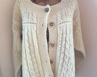 Vintage Irish Wool Chunky Knit Cardigan Sweater