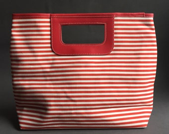 Red White Striped Fabric Handbag, Shopper, White Striped Purse, Fabric Handle Bag, Red White Handbag, Lightweight Purse, Lolita Bag