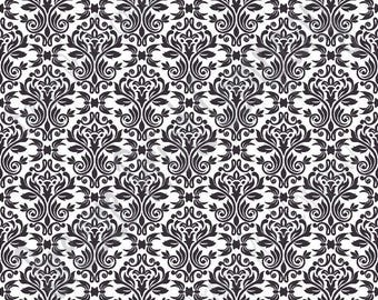 White with black damask floral craft  vinyl sheet - HTV or Adhesive Vinyl -  HTV4200