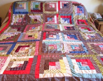 Vintage Queen Sz LOG CABIN Quilt Top Large 82x72 Retro Fabric and Feedsacks Handmade Handstitched Great Colors All Cotton Ready to Quilt