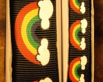 "2 Yards 3/8"" or 7/8"" Rainbows and Clouds on Black Grosgrain Ribbon - US DESIGNER"