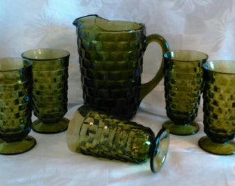 Vintage Green Whitehall Pitcher with 5 Drinking Glasses in Cube-Cubist Pattern Glass - Iced Tea Pitcher Set - Excellent Vintage Condition