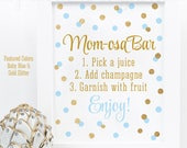 Momosa Bar Sign - Baby Blue Gold Glitter Mom-osa Mimosa Bar Baby Shower Ideas - Baby Boy Sip N See Party Sign - Printable 8x10 Drink Sign