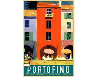 Portofino Italy Riviera Piazzetta Turismo Travel Poster Genova Art Print 321