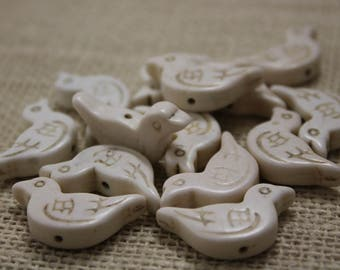 Ivory Howlite Carved Bird Beads (8 Pieces)