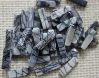 Genuine Dragon Vein Agate  Rectangle Tube Beads (24 Pieces)