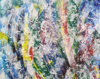 """Abstract colorful acrylic painting on canvas 16*16"""""""