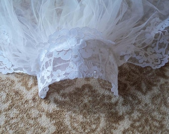 Elegant Beaded & Lace Trimmed Two Tier Wedding Veil