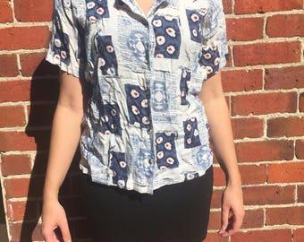 Blue patterned blouse 1980s
