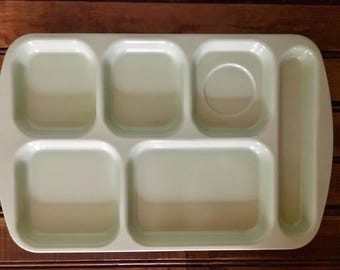 Light Green Melamine SuperMel set of 2 vintage conpartment lunch trays