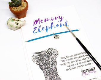 SALE Memory Elephant Friendship Bracelet Greetings card - Elephants never forget. Valentines gift, valentines card. BFF gift or party favour