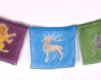 "Handpainted Silk Heraldry ""Prayer"" Flags in Green, Blue and Burgundy"