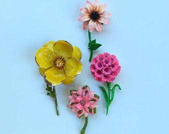 Vintage Lot Of 60's Enamel Flower Brooch Pins ~ Women's Pink Jewelry