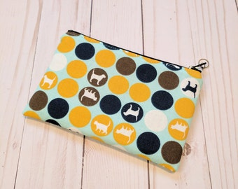 Dogs and Cats Polk a dot Small Zipper Pouch