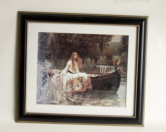 Vintage Retro Pre-Raphaelite THE LADY of SHALOTT 1888 Framed Print by John William Waterhouse