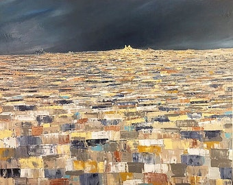Acrylic paint and oil on canvas view of Paris under stormy sky