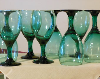 Eight 10-ounce Green Water Glasses w/ Gold Rims