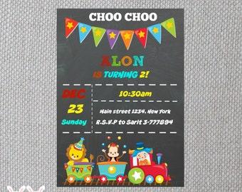 CHOO CHOO Train Circus Birthday Personalized Invitation-Chalkboard Train Circus with Animals Birthday Party Supplies- Digital File