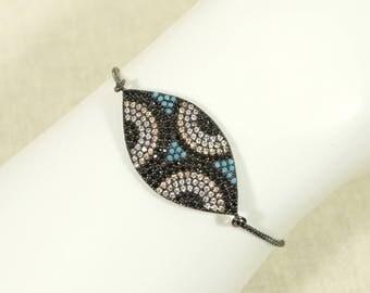 Black Rhodium Color CZ and Micro Turquoise Turkish Evil Eye Adjustable Bracelet