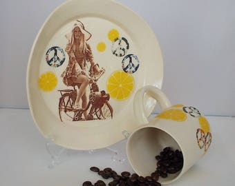 Floppy Hat Coffee/Tea Cup and Plate