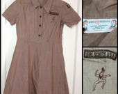 1950s Brownie Girl Scout Uniform brown chambray Uniform Dress patches embroidered pocket side buttons looks kid sz Small 25.75 inch waist #2