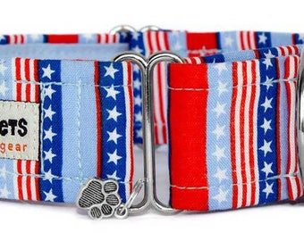 "Noddy & Sweets Adjustable Martingale Collar [1"", 1.5"", 2"" Stars And Stripes]"