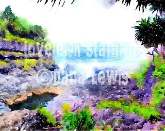 Seven Sacred Pools Maui Art Digital Photo