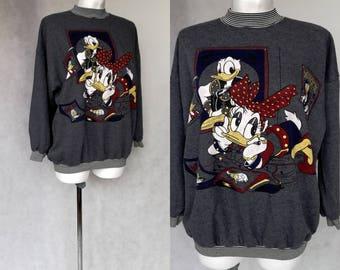 Vintage Disney suéter, puente de algodón gris, Donald Duck suda, Donald Duck sudadera, manga larga Disney suéter, suéter gris medio