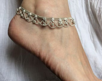 2 charms silver anklet