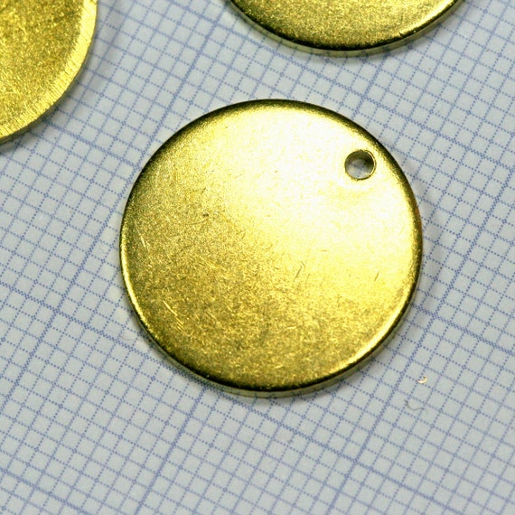 18 mm Circle tag 10 pcs 1.5 mm thickness Raw Brass 1 hole Charms ,Findings 1376R-32