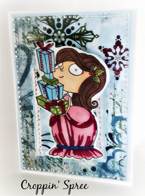 Christmas Card. Ready to Ship. One of a Kind Handmade.