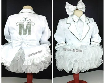 ANGELIC TUX QTU, Ooc, pageant, pageant wear, birthday, jacket, blazer, white, bling, Easter, tuxedo, dress, outfit of choice, custom, 1st