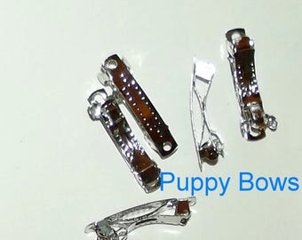 Puppy Bows ~ craft items bow making supplies 30mm hair DIY silver  french barrette clip