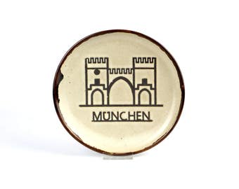 Vintage wall plate blue white Munich decorative wall hanging plate