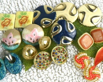 Lot of 10 pairs of Retro Pierced Earrings