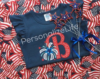 Fourth of July shirt, July 4th shirt, patriotic shirt, Independence Day shirt, monogrammed Fourth of July shirt, Fireworks shirt