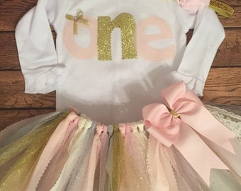 Pale Pink, Ivory, Gold, Silver, and Grey Birthday Scrap Fabric Tutu Outfit