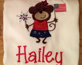 Patriotic 4th of July Girl Monkey Embroidered Shirt or Baby Bodysuit